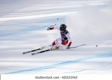 Cortina d ??Ampezzo, Italy 24 January 2016. GUT Lara (Sui) competing in the Audi Fis Alpine Skiing World Cup Women Super G on the Olympia Course in the dolomite mountain range.