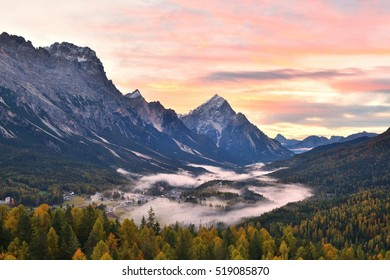 Cortina d'Ampezzo, an alpine valley in the Dolomites, Italy