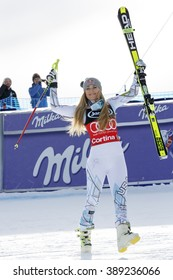 Cortina d'Ampezzo, Italy 24 January 2016. VONN Lindsey (Usa)  takes 1st place during the Audi Fis Alpine Ski World Cup Women'??s Super G
