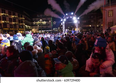 Cortina d'Ampezzo, Italy 28 January 2017: the prize giving ceremony at the FIS Alpine Ski World Cup Women's downhill race on January 28, 2017 in Cortina d'Ampezzo, Italy.