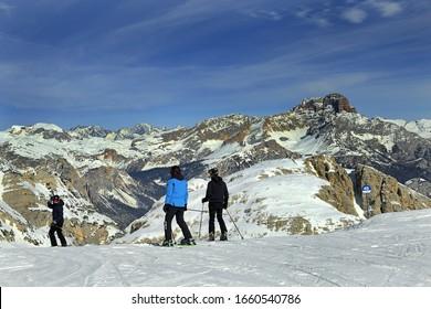 CORTINA D'AMPEZZO, ITALY - FEBRUARY 22, 2020: Ski Area Tofana of Dolomites, North Italy. The Dolomites are a UNESCO World Heritage Site