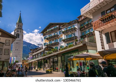 CORTINA D'AMPEZZO, ITALY - JULY 19, 2018: Cityscape of Cortina d Ampezzo, the famous resort in the Dolomites, Italy, Europe