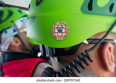 CORTINA D'AMPEZZO, ITALY, June 08: Detail of the helmet of the rescue mountain team taken in the helicopter - June 8th 2014 in Italy.