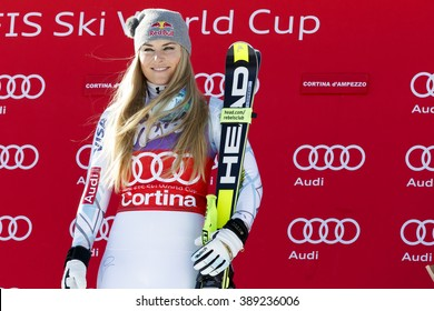 Cortina d'??Ampezzo, Italy 23 January 2016. VONN Lindsey (Usa)  takes 1st place during the Audi Fis Alpine Ski World Cup Women's downhill Race