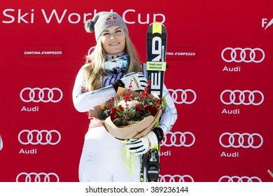 Cortina d'??Ampezzo, Italy 23 January 2016. VONN Lindsey (Usa)  takes 1st place during the Audi Fis Alpine Ski World Cup Women'??s downhill Race