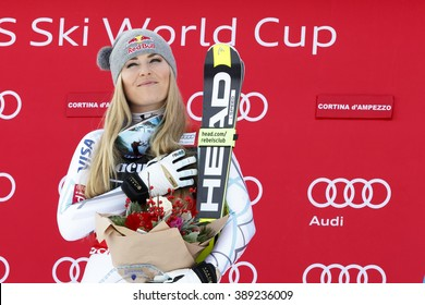 Cortina d'??Ampezzo, Italy 24 January 2016. VONN Lindsey (Usa)  takes 1st place during the Audi Fis Alpine Ski World Cup Women's Super G