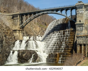 Cortlandt, New York - April 16, 2016: The New Croton Dam also know as Cornell Dam in Cortlandt, NY. The Croton Dam is part of the New York City water supply system.