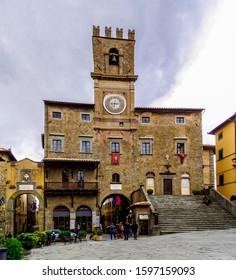 Cortona, Arezzo / Italy - 25 June 2015: The Town Hall in Cortona city center