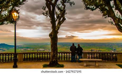 Cortona, Italy - May 12 2013: Tuscany Panorama view from terrace of Cortona