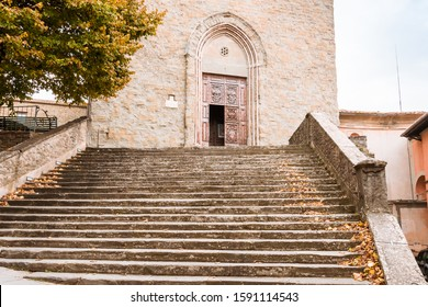 Cortona, Tuscany Italy, 11/14/19: Building and stone steps leading to the church of Saint Francis.