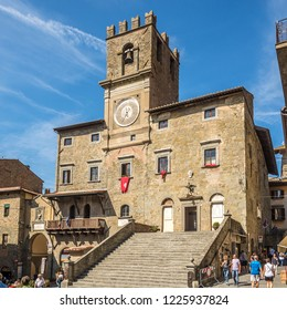 CORTONA,ITALY - SEPTEMBER 20,2018 - View at the Place of Republica with City hall in Cortona. Cortona is a town in the province of Arezzo, in Tuscany.