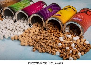 Corum, Turkey - May 23, 2019; Roasted chickpea varieties in original boxes, spicy, sugary, chocolate. Roasted chickpeas.Turkish name is leblebi. Corum Province, Turkey.