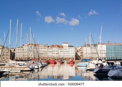 Coruna Galicia Spain , marina port