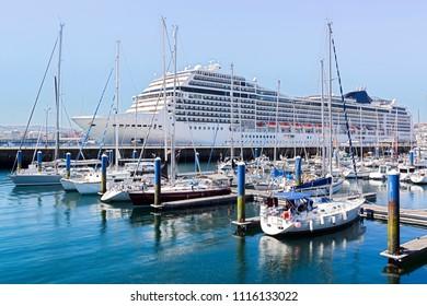 Coruna marina port with with sailboats and cruiser , Spain