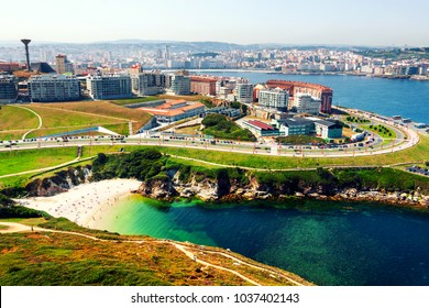 A Coruna, Spain. Aerial view of A Coruna, Galicia, Spain located on the coast of Atlantic Ocean. It is known for the unique architecture and busy port
