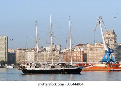 Coruna, Spain , August 10 , 2012 : Tall Ships races , Cutty Sark,  sail training ships in Coruna harbor , Spain