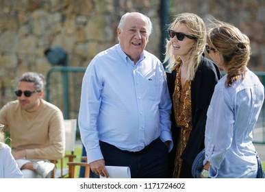 A CORUNA, SPAIN - JULY 20: Amancio Ortega and Marta Ortega attend on July 22, 2018 in A Coruna, Spain