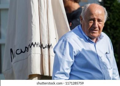 A CORUNA, SPAIN - JULY 20. Portrait of Amancio Ortega Gaona ,founder of Inditex (Zara empire ) on July 20,2018 in A Coruña,Spain.