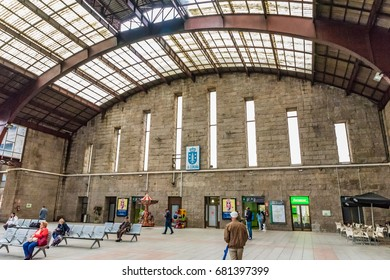 A CORUNA, SPAIN - JUNE 15, 2016: Interior of the Railway Station of A Coruna in Spain. A Coruna is a city and municipality of Galicia, Spain.