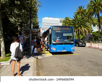 Coruna / Spain - September 04 2019: Bus from A Coruna to San Pedro. Blue local city bus for Coruna