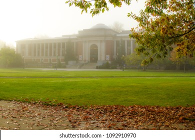 Corvallis, Oregon - 11/1/2011:  The student union building at Oregon State University on a foggy autumn morning.