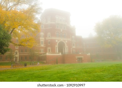 Corvallis, Oregon - 11/1/2011: Weatherford Hall on a foggy autumn morning, it is one of Oregon State University's most recognizable buildings