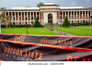 Corvallis, Oregon - 4/6/2019:  The Memorial Union (student union) on the Oregon State University campus with a banner sign advertising a triathlon.