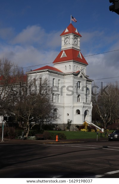Corvallis, Oregon / USA - January, 26, 2020: Benton County Courthouse. Built in 1888 and listed in the National Register of Public Places.