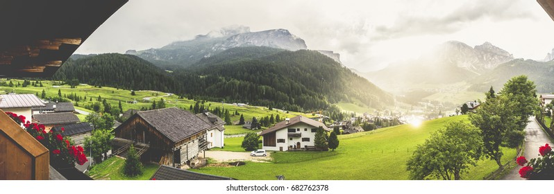 Corvara, Dolomites, Italy. Landscape of city after  storm in summer season.