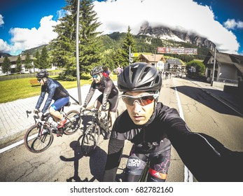 Corvara, Italy - July 02th 2017: Cyclist take a selfie during Maratona dles Dolomites.
