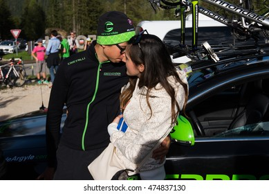 Corvara, Italy May 21, 2016; Davide Formolo, professional cyclist,  meets the girlfriend after  the finish of the queen stage of the Tour of Italy 2016 with arrival in Corvara.