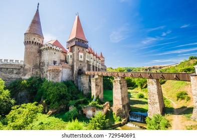 Corvin Castle, Hunedoara, Transylvania, Romania. Hunyad Castle was laid out in 1446. Castelul Huniazilor in Romania.