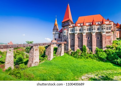 Corvin Castle, Romania - Amazing spring landscape in Hunedoara, Transylvania region of Eastern Europe.