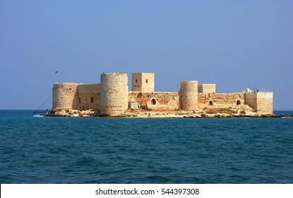 Corycus or Corycus or Corycos Historical Crusaders castle on the sea in Turkey. Kizkalesi Mersin