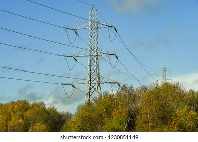 CORYTON, CARDIFF, WALES - NOVEMBER 2018: Electricity pylon on a mountainside on the outskirts of Cardiff, part of the National Grid.