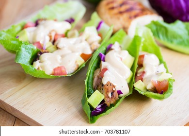 cos lettuce wrap with chicken and dressing