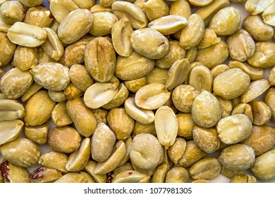 C;oseup of Scattered Random Peanuts forming a background