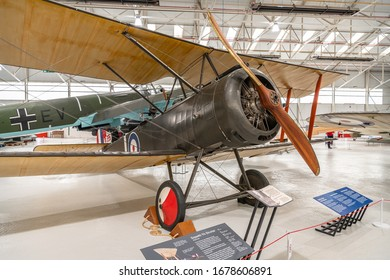 Cosford, England - March 13 2020; Sopwith 1½ Strutter at the RAF Museum, (reconstruction)