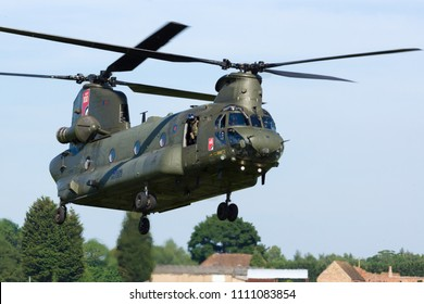 Cosford Shropshire UK - June 10 2018: Boeing CH47 Chinook military transport helicopter of the Royal Air Force who use it to provide battlefield airlift of equipment and personnel for the army