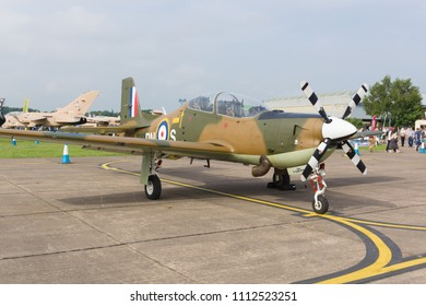 Cosford Shropshire UK - June 10 2018: Short Tucano T1 a licence-built version of the Brazilian Embraer EMB-312 it is used as a basic training aircraft by the Royal Air Force and was introduced in 1986