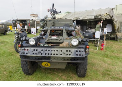 Cosford Shropshire UK - June 10 2018: Daimler Ferret a British army armoured car  at a military vehicle display. Introduced in 1952 by Daimler it was used for reconnaissance and defensive purposes