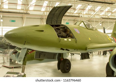 COSFORD, SHROPSHIRE, UK – JUNE 9, 2018: Messerschmitt Me 262A-2a Schwalbe (Swallow), the first operational jet fighter of World War 2, the only type to see combat, on display at the RAF Museum Cosford