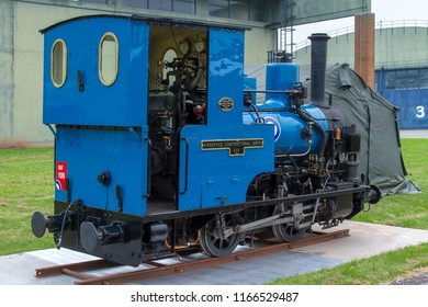 COSFORD, SHROPSHIRE, UK - JUNE 9, 2018: Andrew Barclay Sons & Co. Ltd. 0-4-0WT Air Service Constructional Corps No.1, operated at RAF Calshot in  Hampshire between 1918-49, on display at RAF Cosford.