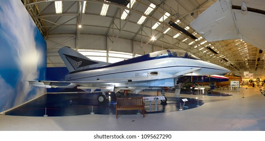 COSFORD, SHROPSHIRE, UK – MARCH 13, 2015: British Aerospace Experimental Aircraft Programme (EAP) technology demonstrator ZF534, resulting in the Eurofighter Typhoon, on display at RAF Museum Cosford.