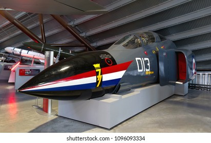 COSFORD, SHROPSHIRE, UK – MARCH 13, 2015: McDonnell Douglas Phantom FG1 XV591 nose section painted as XV424 on 1979 Alcock & Brown commemorative transatlantic flight, on display at RAF Museum Cosford.
