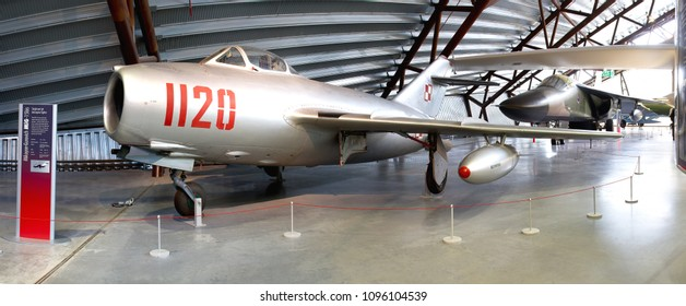 COSFORD, SHROPSHIRE, UK – MARCH 13, 2015: Mikoyan-Gurevich MiG-15 Bis 1120 (Fagot) of the Polish Air Force, one of the most prolific fighters produced (12,000 plus), on display at RAF Museum Cosford.