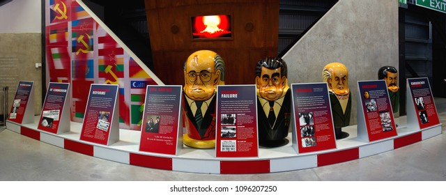 COSFORD, SHROPSHIRE, UK – MARCH 13, 2015: Soviet Russian leader matryoshka dolls of Stalin, Khrushchev, Brezhnev and Gorbachev, with detail of détente, on display at Royal Air Force Museum Cosford.