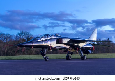 COSFORD, SHROPSHIRE, UK – MARCH 8, 2018: Royal Air Force SEPECAT Jaguar T.2A 'Zulu' XX837, formerly of 226 OCU at RAF Lossiemouth in Scotland, on display at RAF Cosford.