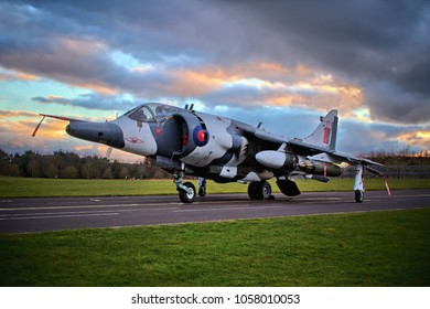 COSFORD, SHROPSHIRE, UK – MARCH 8, 2018: RAF Hawker Siddeley Harrier GR3 'Zero Seven' XZ991, in 1 Sqn markings with arctic camouflage and formerly based at RAF Wittering, on display at RAF Cosford.