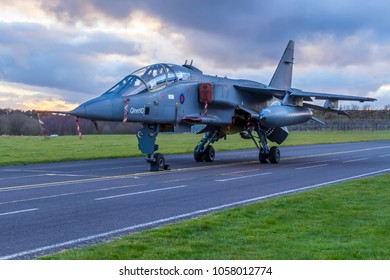 COSFORD, SHROPSHIRE, UK – MARCH 8, 2018: RAF SEPECAT Jaguar T.2A XX833, in QinetiQ markings, previously part of the Aircraft Test and Evaluation Centre at MoD Boscombe Down, on display at RAF Cosford.